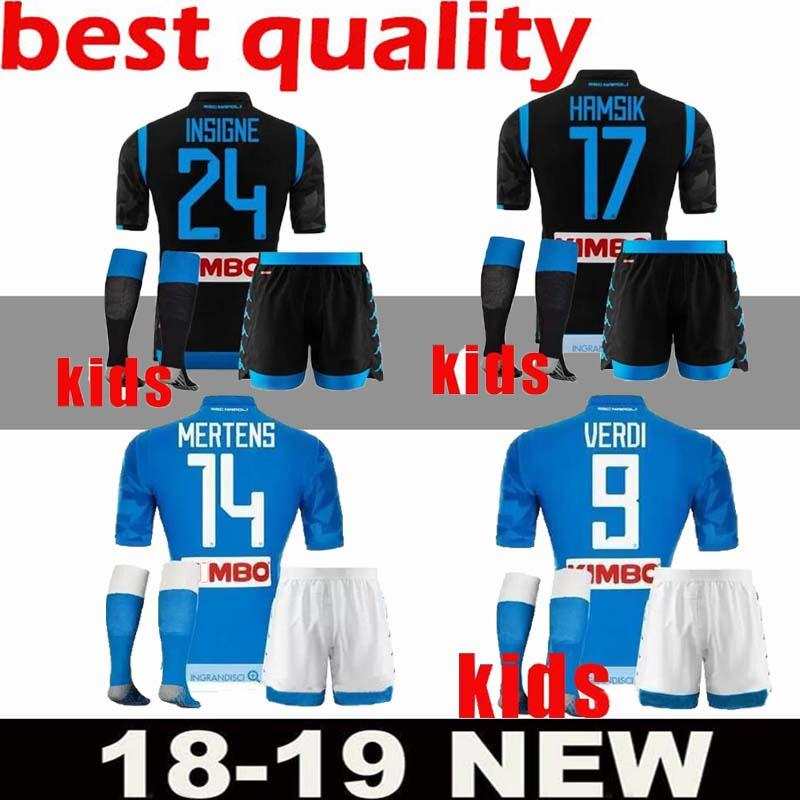 fc6f95788 3A+ KIDS KIT 2018 2019 Napoli Home Soccer Jerseys 18 19 Naples ...