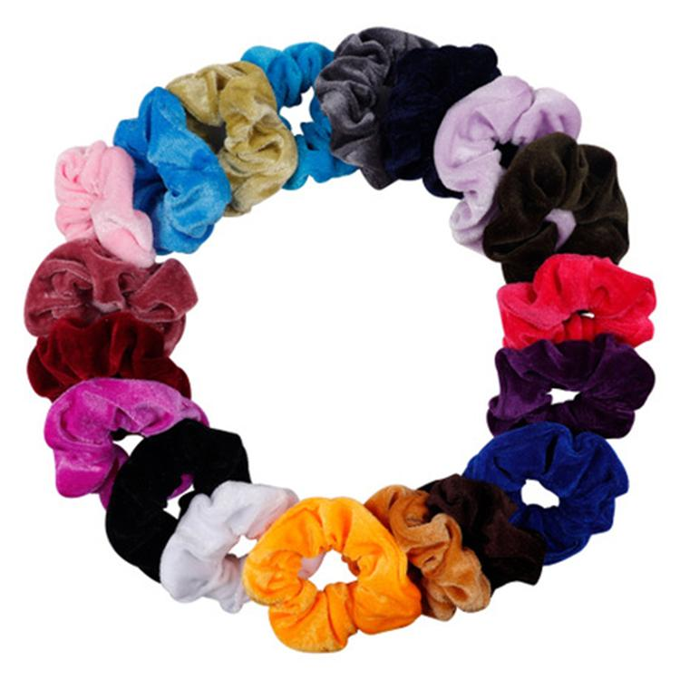 Women Elegant Velvet Solid Elastic Hair Bands Ponytail Holder Scrunchies Tie Hair Rubber Band Headband Lady Hair Accessories TFJ589