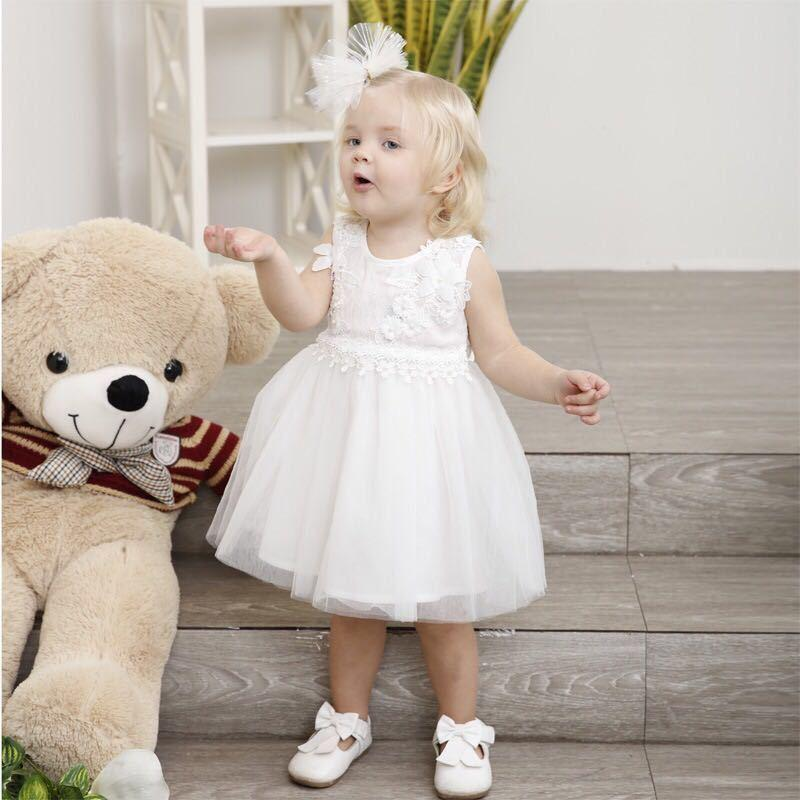 b72c6bd938aba Acheter Robe De Fête D anniversaire De Mariage Pour Enfant Pour 1 6 Année  Fille Robes Blanches Vente Chaude Belle Bébé Fleur Grand Arc Voile Style  Vêtements ...
