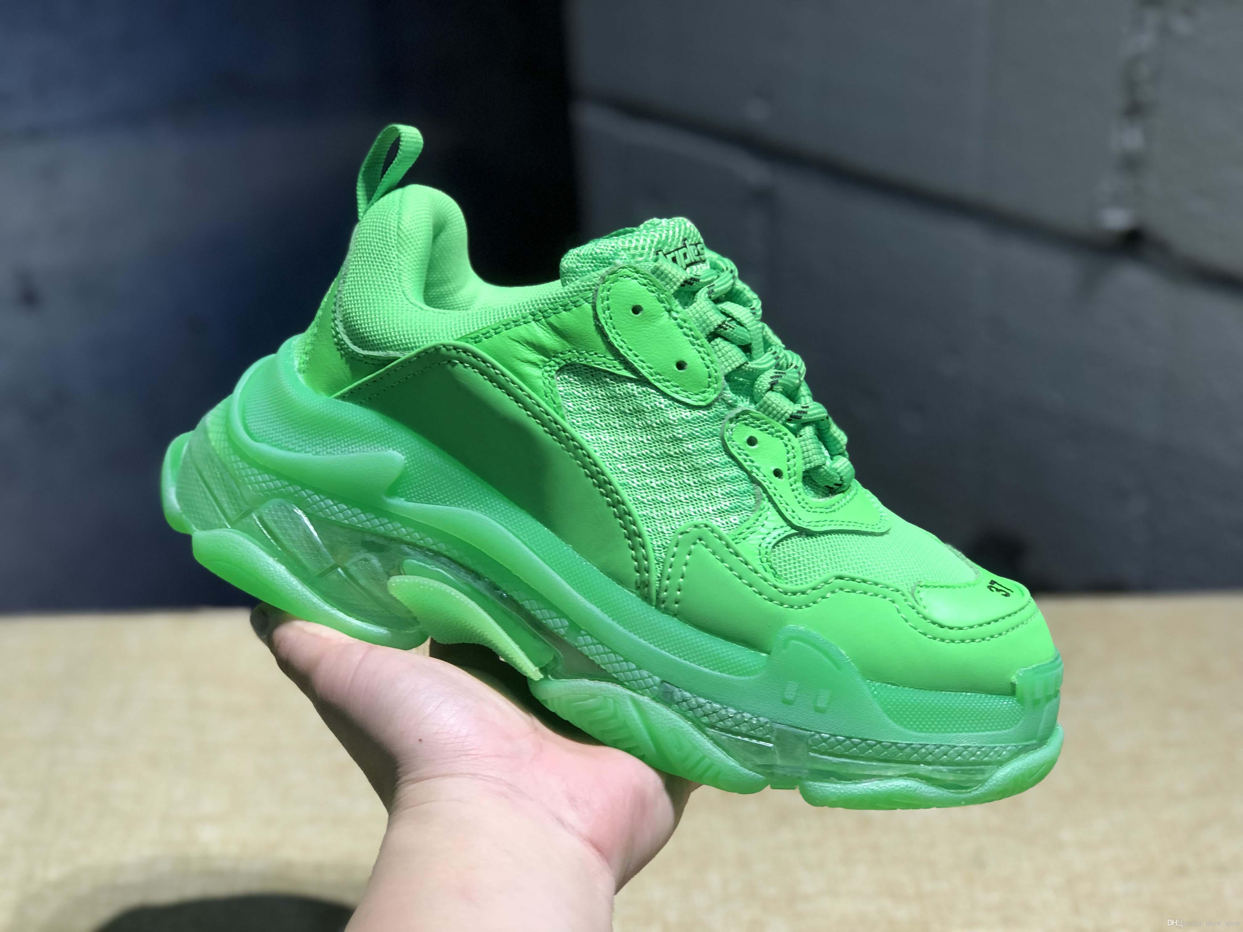 e5b57413432271 2019 New Colors BL Triple S Green Retros Paris Sneakers Mens Women Designer  Shoes Fashion Outdoor Old Grandpa Luxury Trainers 35 45 Shoe Sale Shoes Uk  From ...