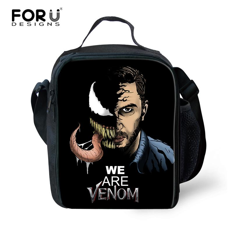 FORUDESIGNS High Quality Kids Lunch Bag Cool Venom Printing Lunch-bag for  Women Insulated Adult Lunch Box Kids Cute Lunchbags