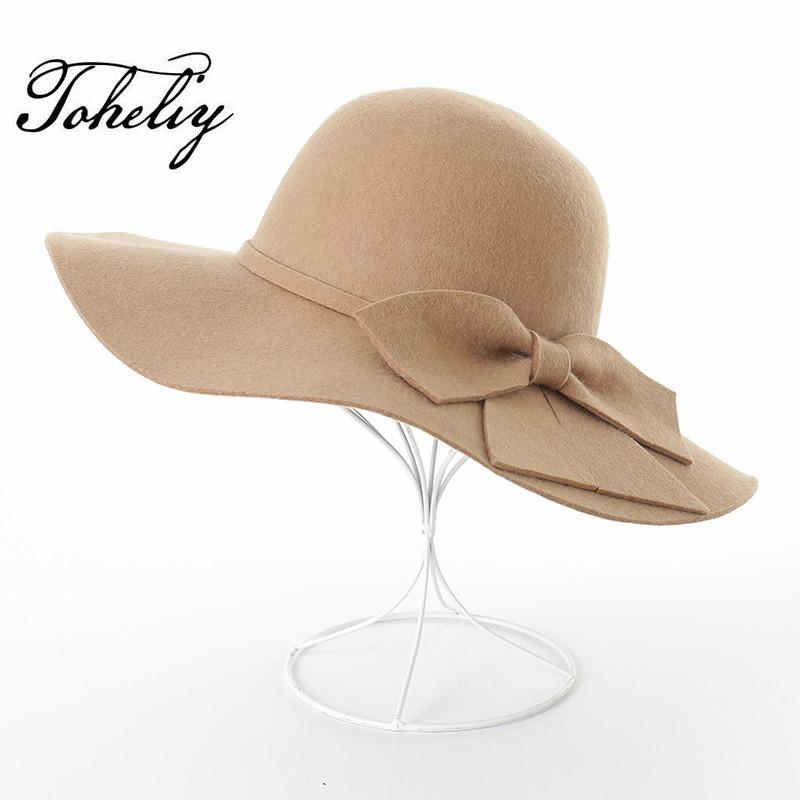 b0a94581a672f New Hats For Women Soft Vintage Wide Brim Wool Felt Bowler Bowknot Fedora  Hat Floppy Cloche Women S Large Hat Cap D19011102 Summer Hats Winter Hats  For ...