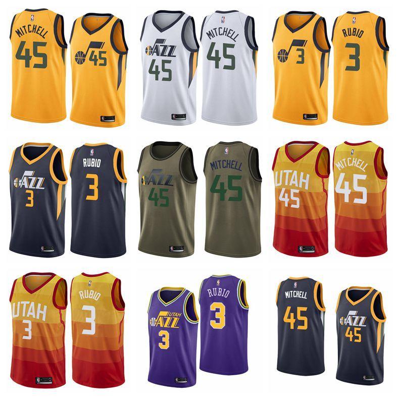sports shoes 369c1 a5bc8 Men Donovan Mitchell Utah Ricky Rubio Jersey Orange Jazz Fanatics Branded  Fast Break Swingman Jersey Navy 2019 New
