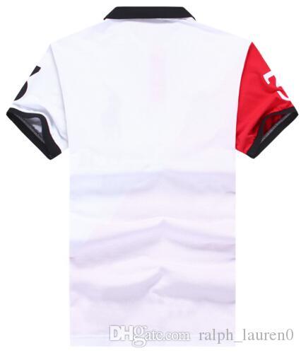 Venta caliente de los hombres T clásico del reloj Negro Turn-down Collar Corto Polo manera ocasional polos adelgazan la manga corta Camisetas Camisetas Blanco Rojo