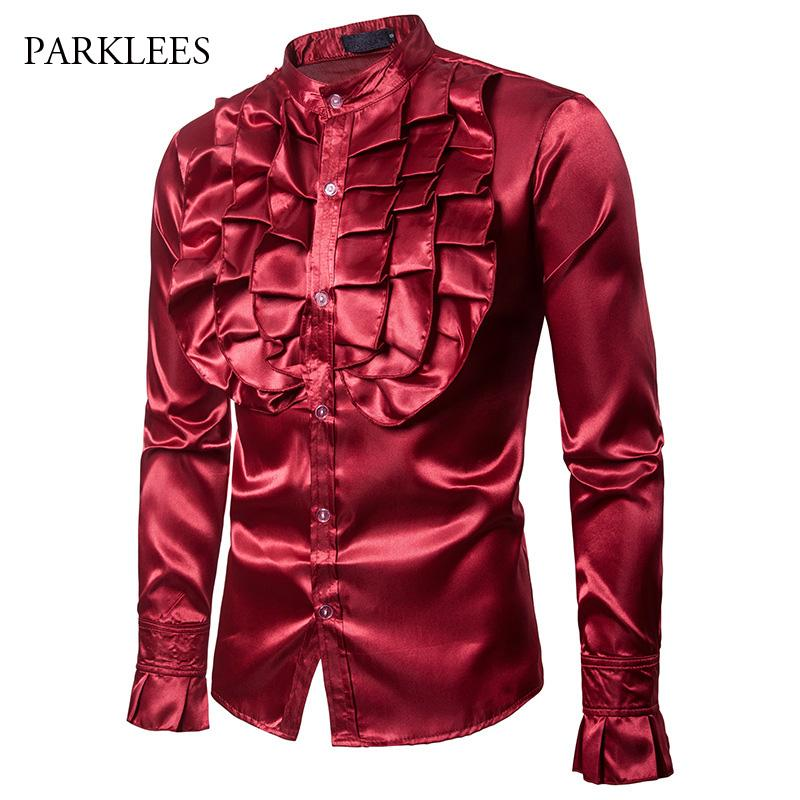 Wine Red Big Flower Men Shirt Silk Satin Petal Sleeve Tuxedo Dress Mens Shirts Stage Party Wedding Dinner Prom Camisa Hombre Xxl