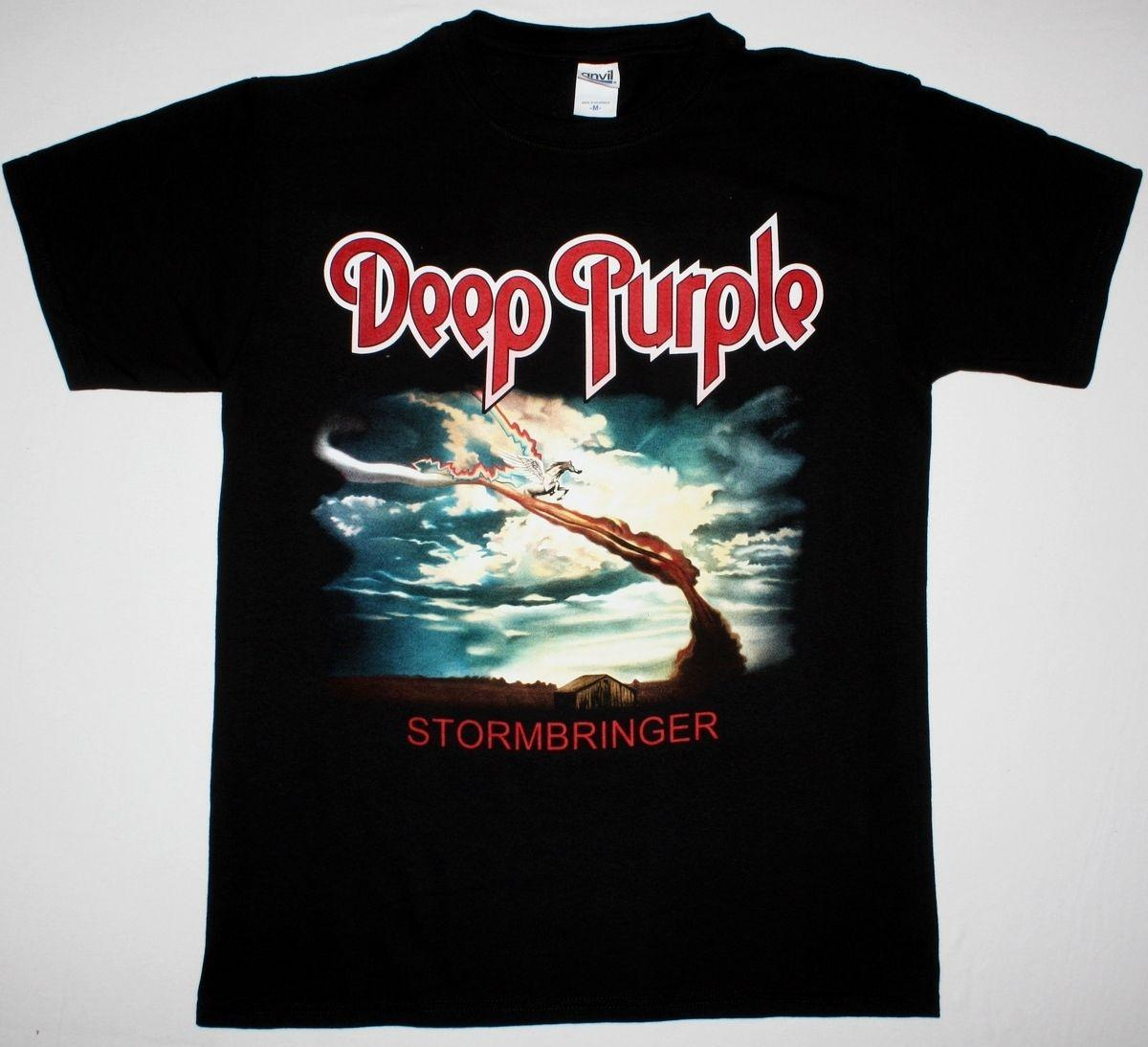 DEEP PURPLE STORMBRINGER BLACK T SHIRT HARD ROCK COVERDALE RAINBOW BLACKMORE Funny free shipping Unisex Casual