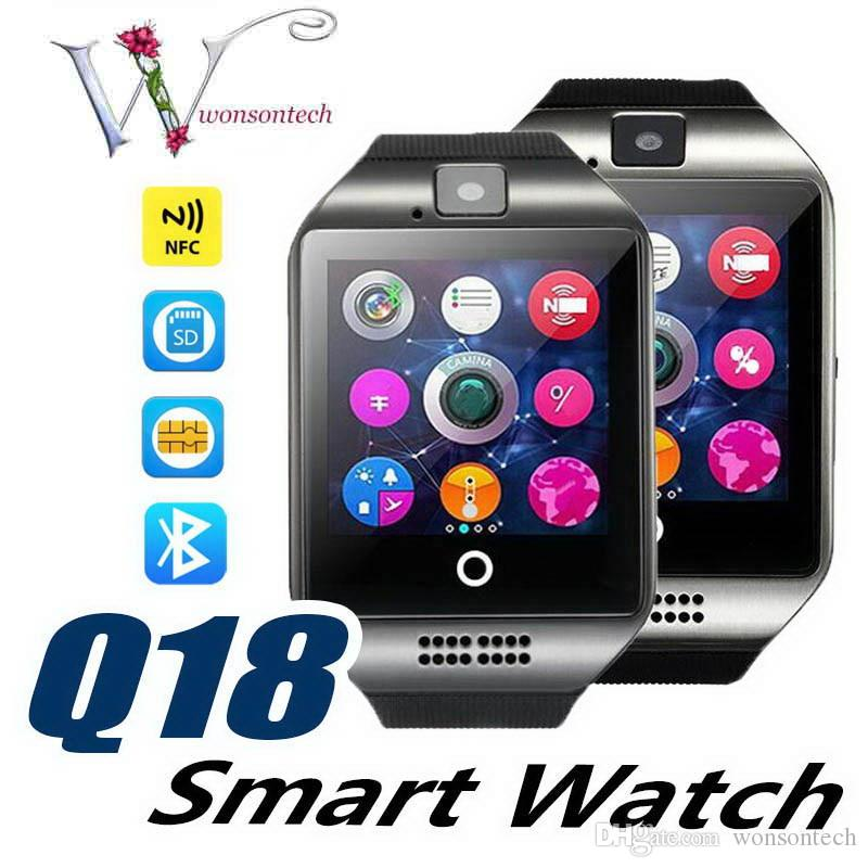 Luxury Smart Watch Phone Q18 Arc Clock Support SIM TF Card GSM Bluetooth Smartwatch Sport With Camera for iPhone Android Phone PK M26 DZ09