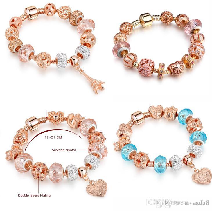 17cm-21cm High Quality European Style Rose Gold Crystal Silver Beads Charm Bracelets for Women Original DIY Beads Jewelry