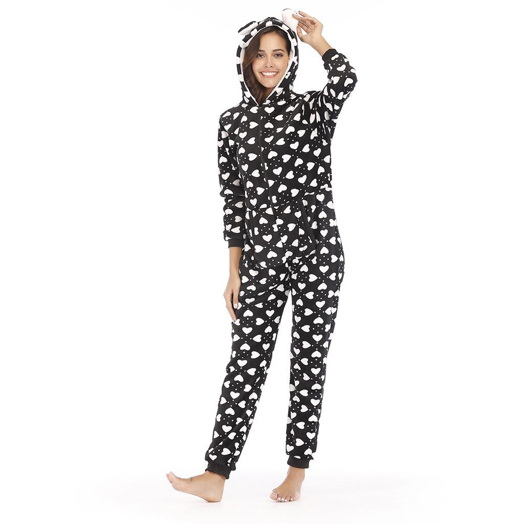 62ad1e5893af 2019 Womens Fashion Printing Hooded Flannel Long Sleeve Plus Size Onesies  Tracksuit Clubwear Party Rompers Womens Jumpsuit Summer  9 From Marryone