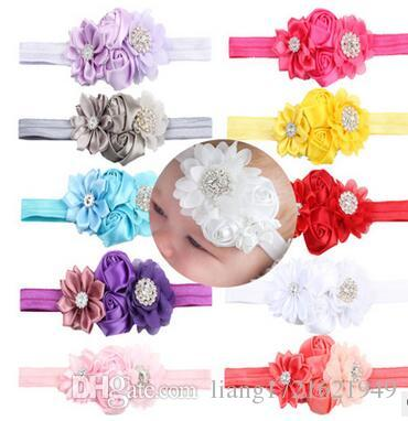10 color wholesale new flower belt hair band children's chiffon flower headband baby baby rose hair accessories