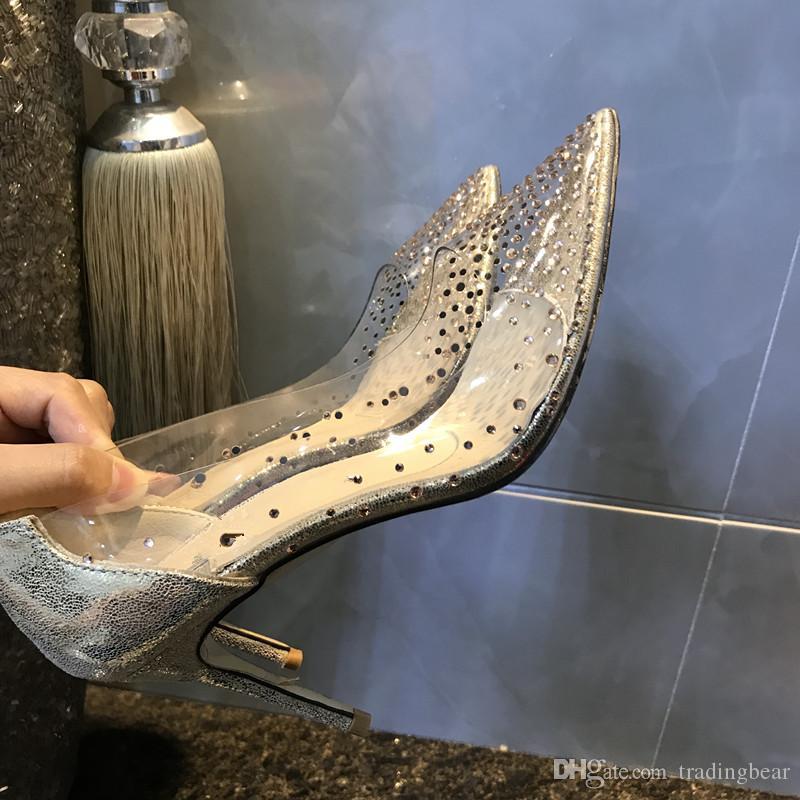 Kommen Sie mit Logo und Box Braut Hochzeit Schuhe Luxus-rote untere hohe Absätze freie Kristallrhinestone-Kleid-Schuhe Größe 35 bis 40 41