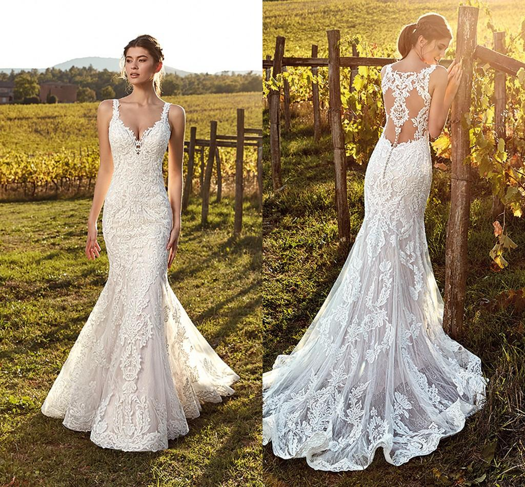 Sweetheart Neckline Lace Mermaid Wedding Dresses New 2019: 2019 Elegant Ivory Straps Deep V Neck Lace Mermaid Wedding