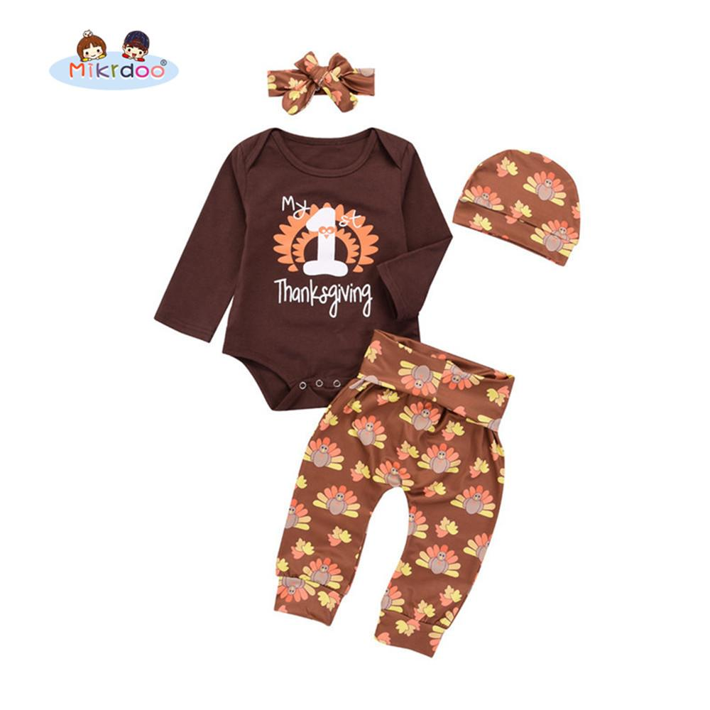 ae54c42f9 2019 Baby Boys Girls My 1st Thanksgiving Clothes Set Letters Print Long  Sleeve Romper Turkeys Print Pant Hat Headband Outfit Y18120801 From  Shenping02, ...