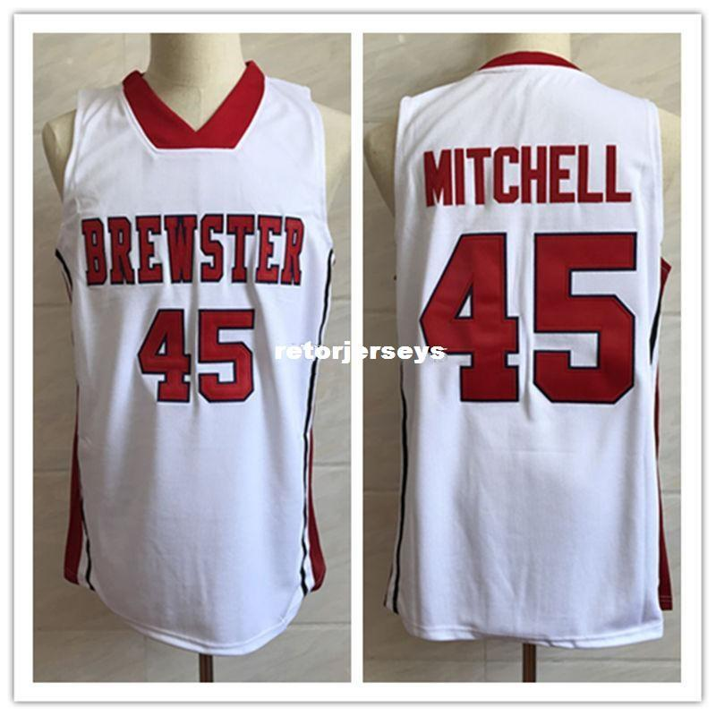 various colors c109e 1fa18 Donovan Mitchell 45 Brewster Academy High School White Retro Classic  Basketball Jersey Mens Stitched Custom Number and name Jerseys