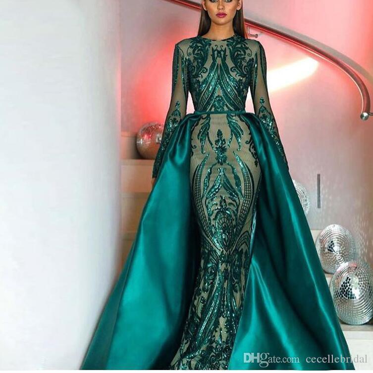 Acquista 2019 Eleganti Abiti Da Sera Sirena Sirena Maniche Lunghe Verde  Musulmano Con Treno Staccabile Paillettes Marocchino Marocchino Abito  Formale Del ... 8f24bc856cd