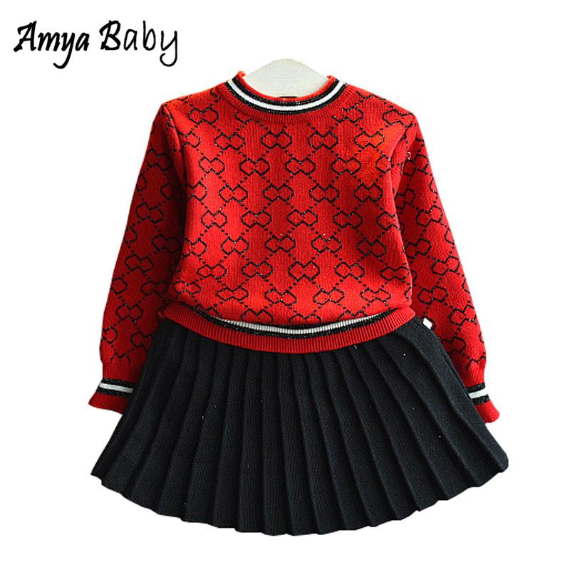 c143a88a0e611 Amya Baby Toddler Girl Winter Outfits Knitted Sweater + Pleated Skirt 2pcs  Autumn Girls Clothing Set Christmas Girls Outfit Sets Y190518