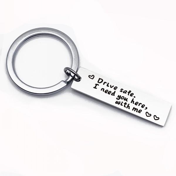 14 Styles Letter Engraved Keychains Drive Safe I need you here with me  Keychain Silver Stainless Steel Keyring Car Key Ring Chain M032F