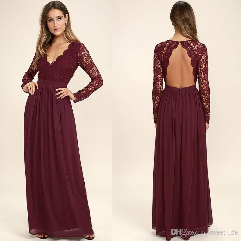 2020 Burgundy Chiffon Bridesmaid Dresses Long Sleeves