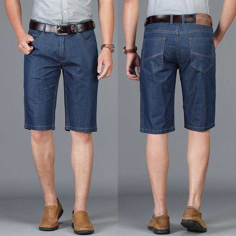 f5916bf93c60 2019 Knee Length Jeans Mens Shorts Stretch Slim Fit Jeans Men Thin Denim  Designer Business Casual High Quality Shorts Pants Big Size From Redbud01,  ...