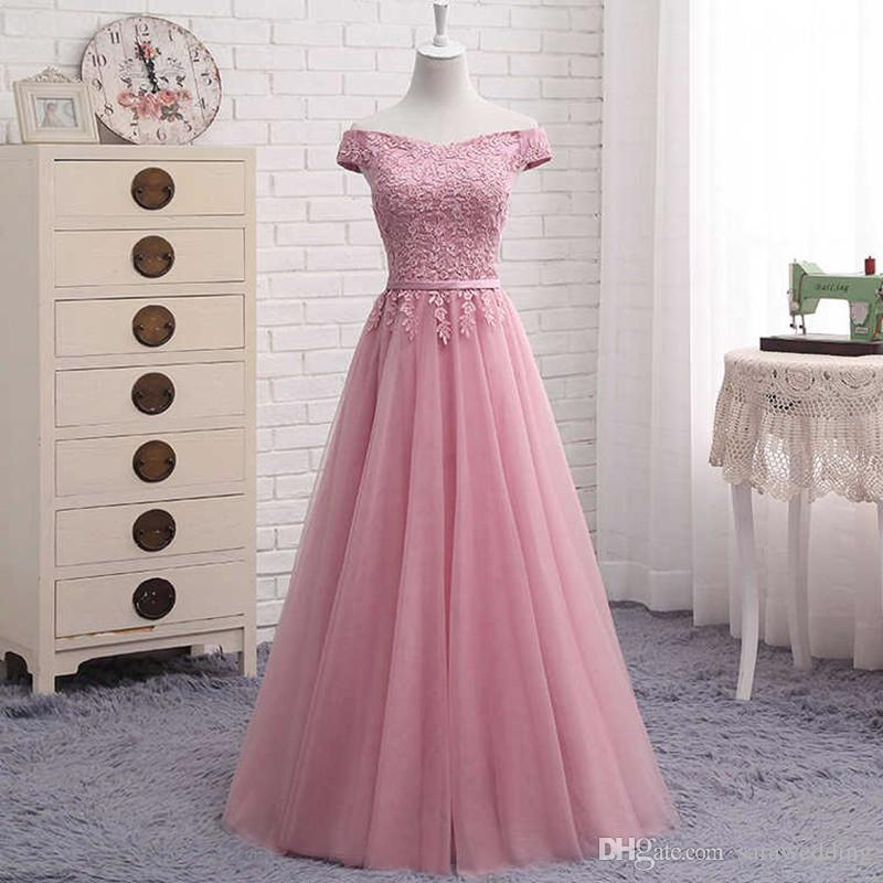 Off the Shoulder Tulle Long Bridesmaid Dresses with Lace 2019 Wedding Guest Dress Bruidsmeisjes Jurk Blush Pink