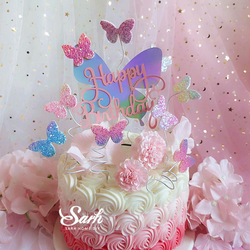 2019 Biling Colourful Laser Butterfly Happy Birthday Cake Topper Dessert Decoration For Party Lovely Gifts From Olgar 324