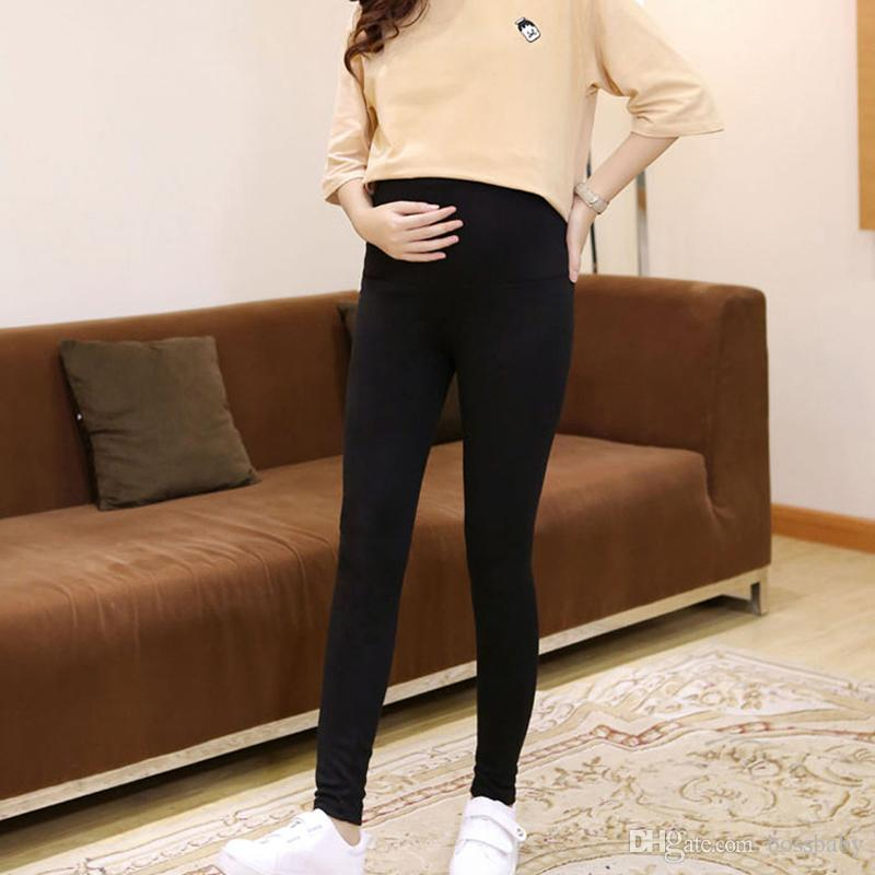 Pregnant Women Leggings Pregnant Woman Stomach Lift Trousers Wear Outside Pants Pregnant Woman Solid Color Tights 45