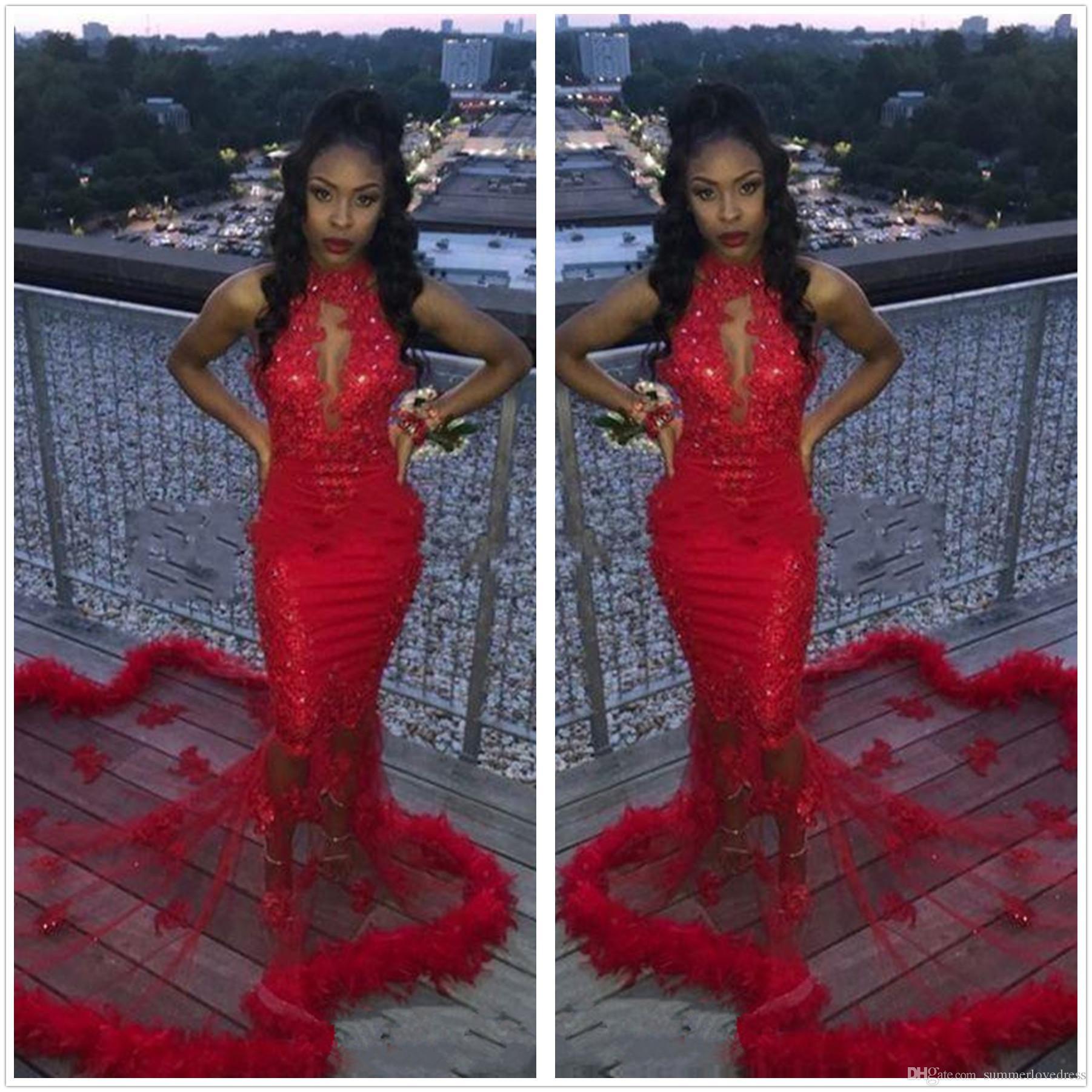 96c1a70dc Compre Rojo Africano 2K19 Sirena Vestidos De Baile De Plumas Con  Lentejuelas Sexy Sirena Vestido De Noche Conde Tren Ver A Través De Vestidos  De Fiesta De ...
