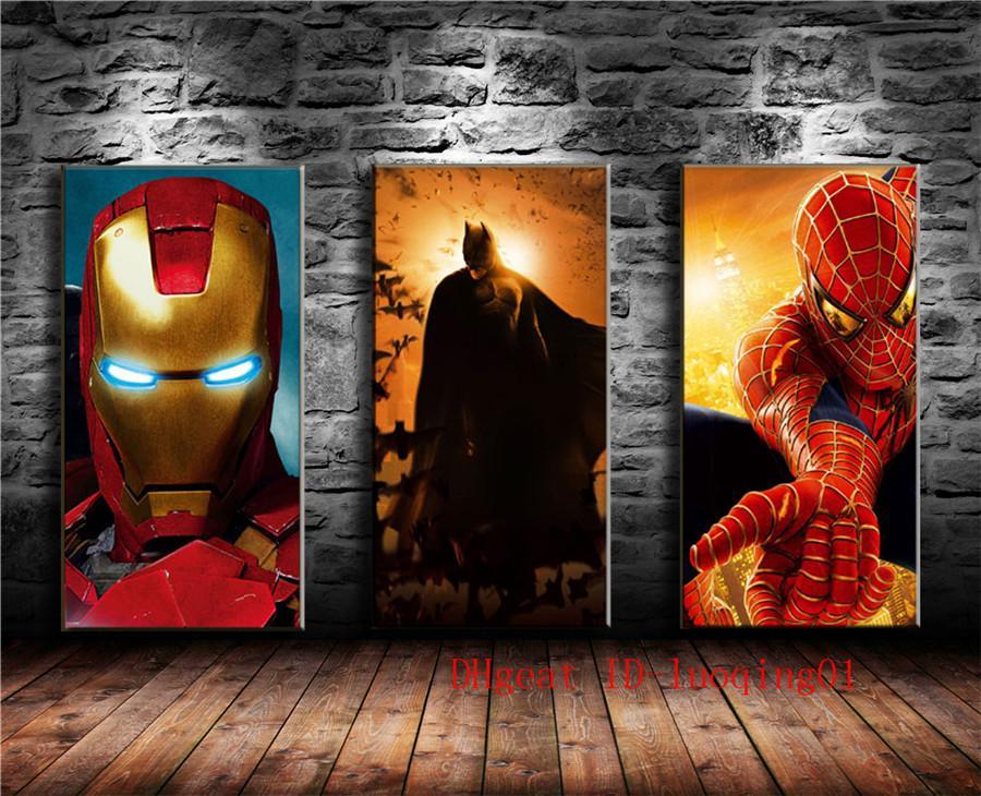 Satın Al Ironman Batman örümcek Adam 3 P Tuval Adet Ev Dekorasyonu