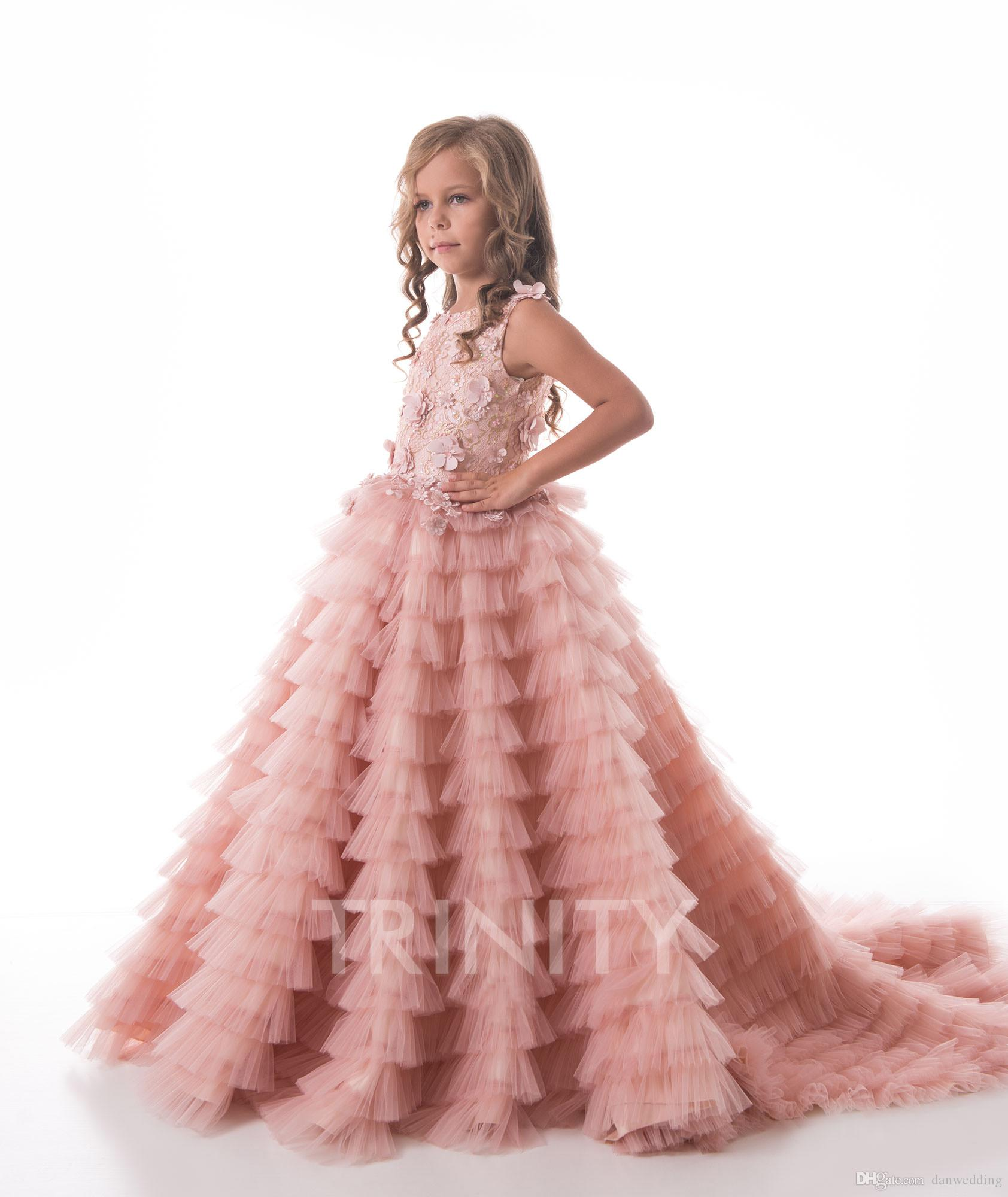 594eb042a Pretty Pink Layers Applique Beads Girl S Pageant Dresses Flower Girl ...