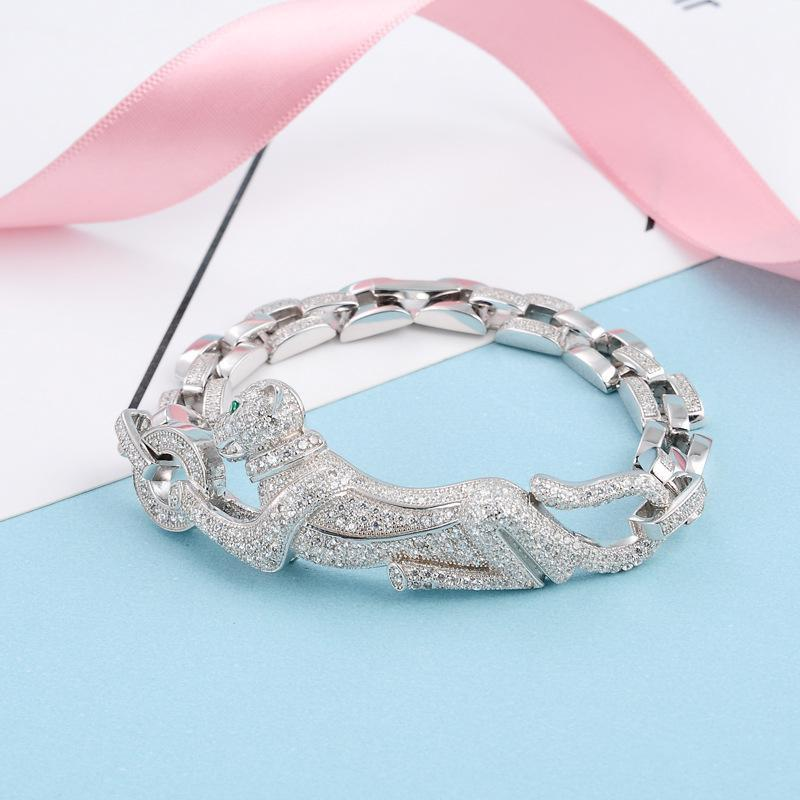 f97326f7ee8b1 Fashion Unisex Leopard Bracelets Brand Luxury S925 Silver Chains Animal  Pendant Bracelet Men Women Hip Hop Bracelets Lover Gift