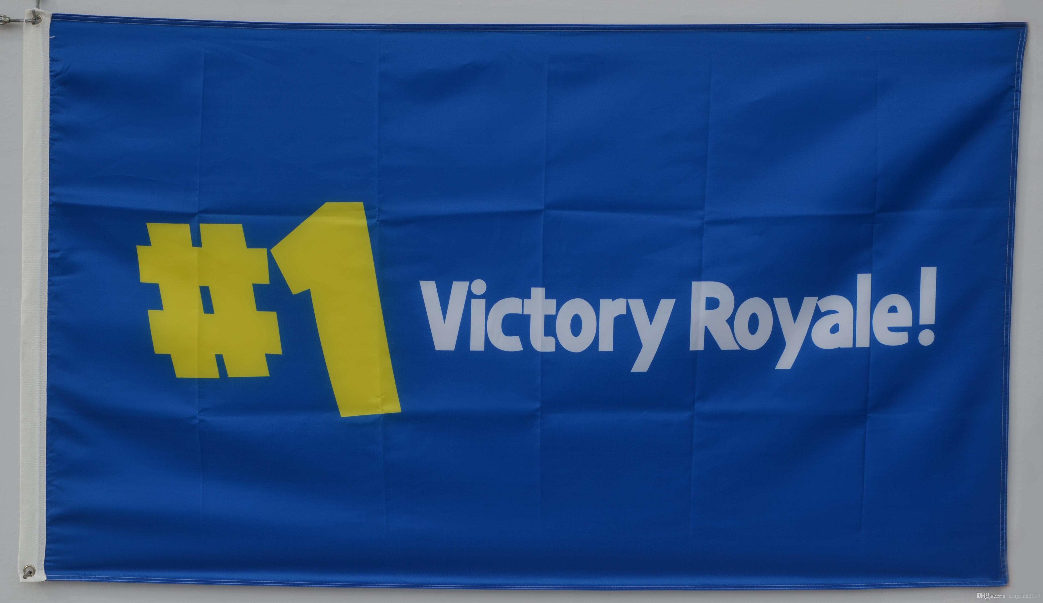 91d84c6181 Compre Fortnite 1 Victory Royale Video Game Bandeira De Batalha Logotipo  Banner De Kingflag2017