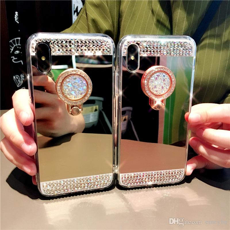 1PCS Diamond Glitter Bling Soft Mirror Ring Holder Case For iphone 11 pro x xs max xr 6 7 8 plus Samsung S10 S9 S8 Note 9 8 note10 Cover
