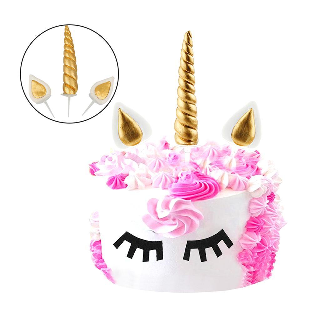 3pcs Handmade Gold Unicorn Birthday Cake