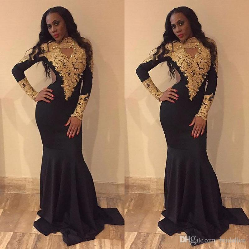 Exquisite Black Mermaid Prom Dresses 2019 O-Neck Gold Beaded Lace Cut-Out Long Sleeve Black Girl Prom Dress