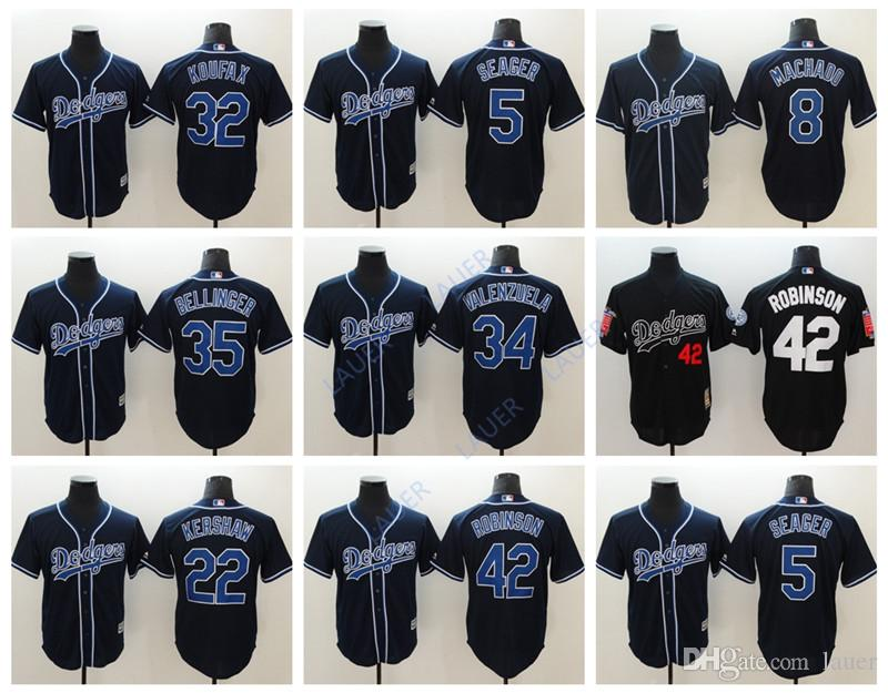 new product c2268 029df Retro Los Angeles Men Dodgers 35 Cody Bellinger 8 Manny Machado 5 Corey  Seager 22 Clayton Kershaw 42 Jackie Robinson 34 Valenzuela Jerseys