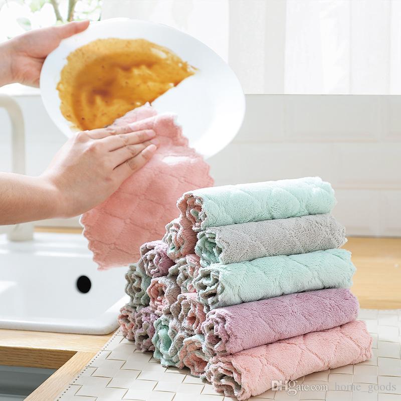 Strofinacci da cucina super assorbente Strofinaccio da cucina antiaderente  Stropicciato stropicciato da cucina Asciugamano morbido in pile per ...