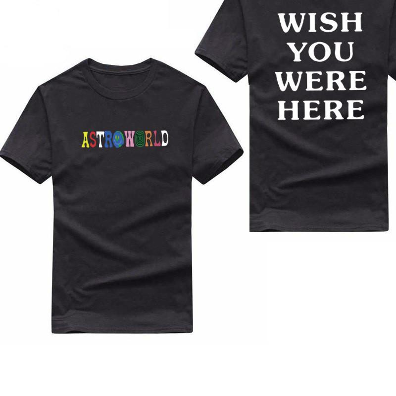 c936533e036d New Astroworld Wish You Were Here T Shirt Fashion Letter Print Tee Shirt  Homme Streetwear Man And Woman Astroworld Tshirt Homme Cool Funny Shirts  One Day ...