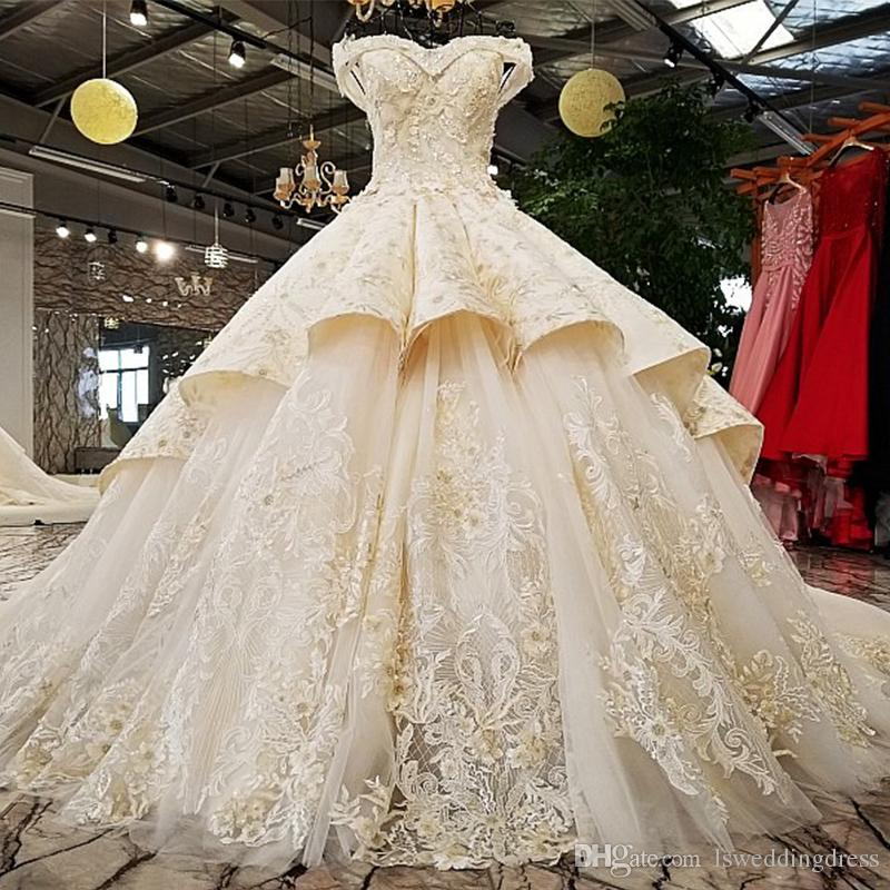 Wedding Dress Champagne Color Lace Real Pictures Show Asymmetric Two