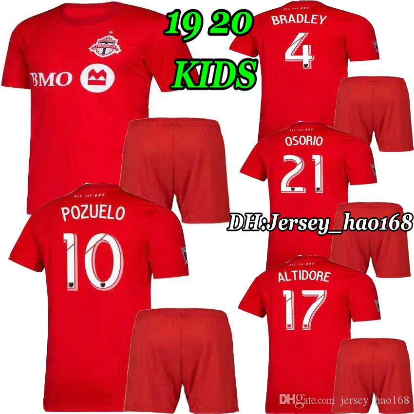 factory authentic 0c0f5 8436d 2019 2020 Toronto FC kids kit Soccer Jerseys OSORIO POZUELO BRADLEY  ALTIDORE 19 20 Toronto Home boy child Football Shirt Uniform