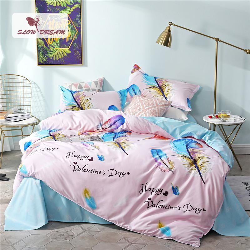 SlowDream Happy Valentine Day Feather Bedding Set luxury Duvet Cover Active Printing Bed Linen Bedclothes Decor Home Textiles