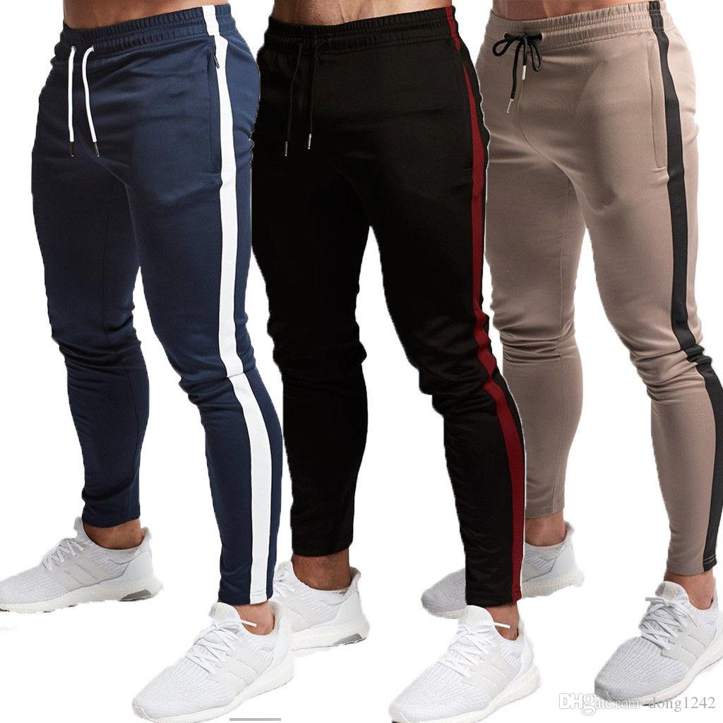 Compre Pantalones Deportivos Largos Para Hombre Pantalones Deportivos  Ajustados Gimnasio Pantalones De Chándal Para Correr Joggers Gimnasio A   27.4 Del ... 37d8cf905eb6