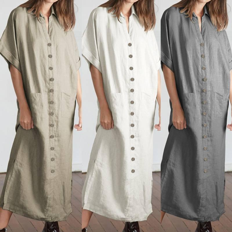57a3724889131 Celmia 2019 Summer Women Vintage Maxi Dress Casual Short Sleeve Loose  Buttons Split Party Long Shirt Vestidos Robe Plus Size 5XL