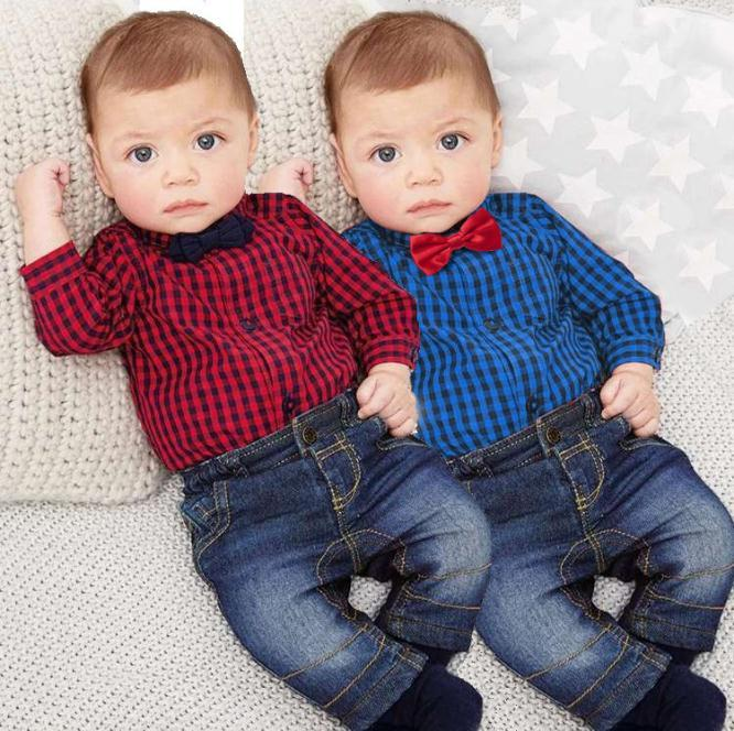Baby clothing baby boys long sleeve plaid shirt romper +jeans trousers 2 pcs Autumn baby boy clothes
