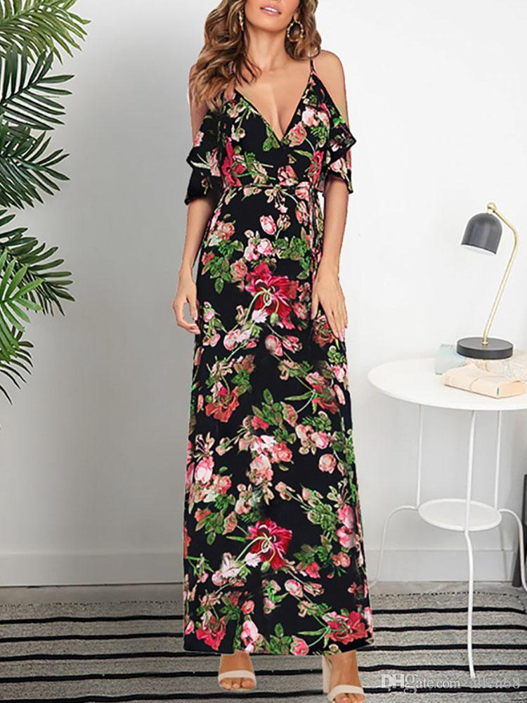 2696e1d73fc88 New 2019 Sexy Floral Print Women Summer Sleeveless V-Neck Backless Vintage  Long Boho Party Cocktail Casual Loose Beach Pink Dress