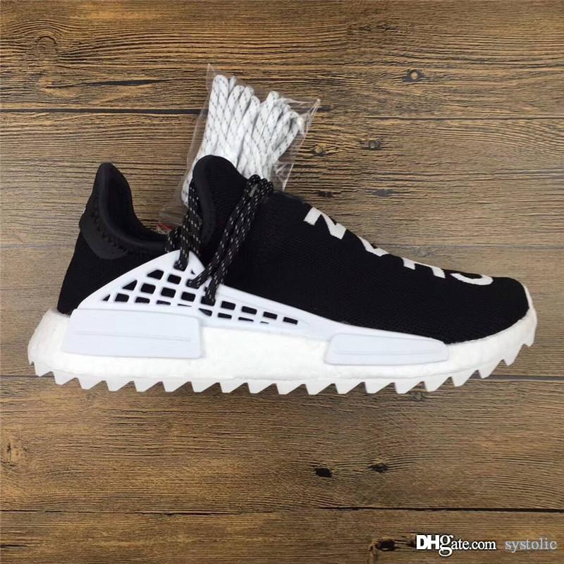 check out 754ab e72e6 2018 New Authentic 2055CHANEL Originals Pharrell Williams CC HU NMD Human  Race Black White Man Woman Running Shoes Sneakers With Box D97921