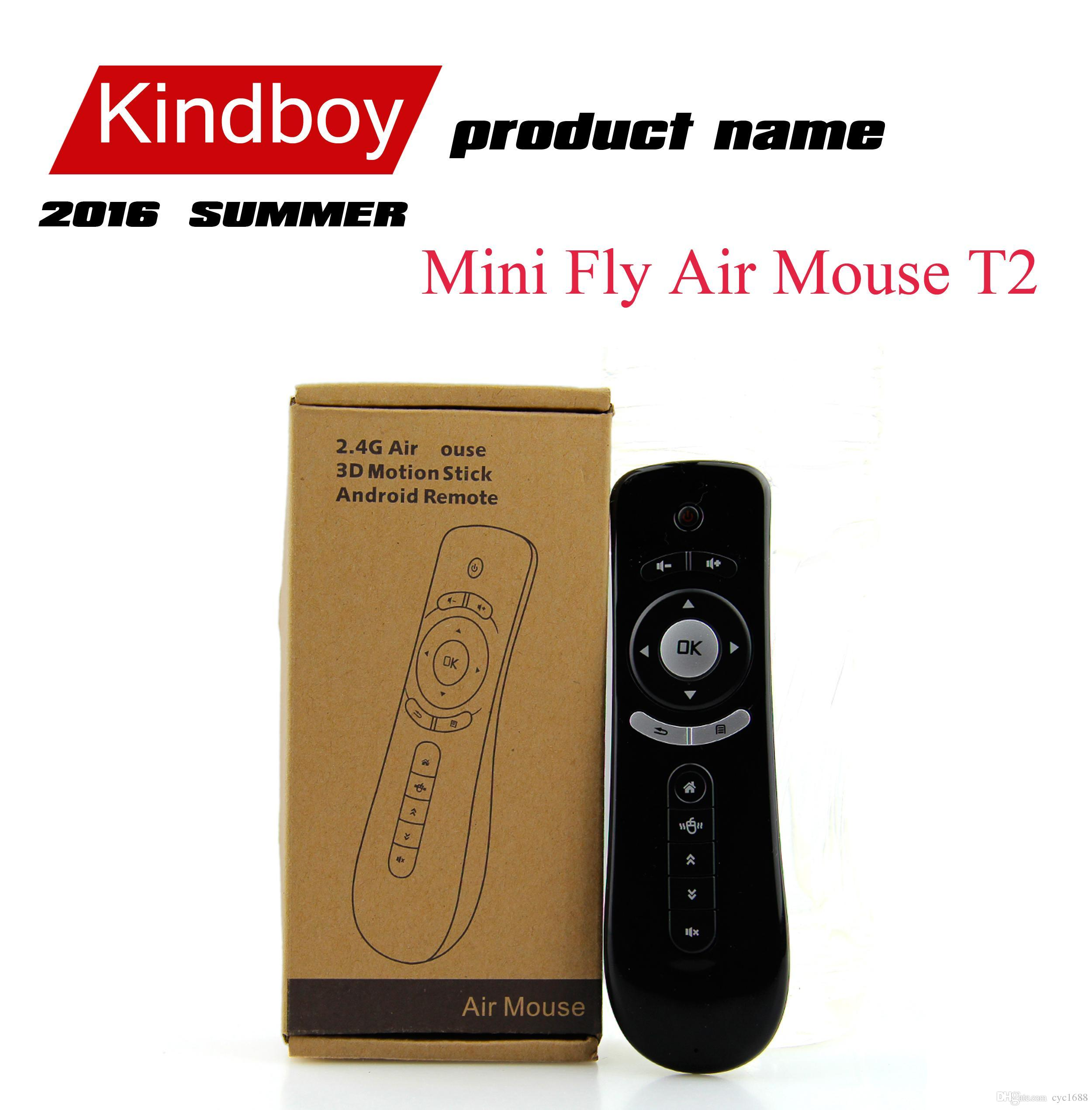 Мини Fly Air Mouse T2 Клавиатура Мышь Android Беспроводной Пульт Дистанционного Управления 3D Sense Motion Stick Для TV Box DHL