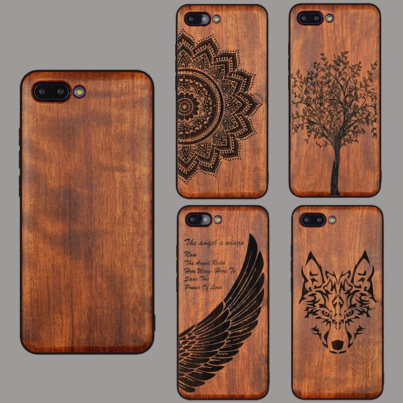online retailer 06b64 2cd14 Wolf Real Wood Case For Huawei P20 Pro P20 Lite Wood TPU Frame Bamboo Case  Cover for Huawei Honor 10 V10 Play Note10 Mate 10 Pro