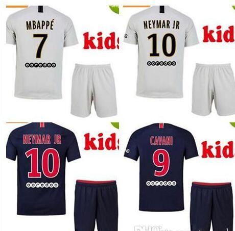 super popular 47727 0043f Kid Kits 2019 New Logo PSG White Soccer Jersey 18/19 PSG Child Fotball  Shirts Customized #10 NEYMAR JR #7 MBAPPE Boy Football Jerseys