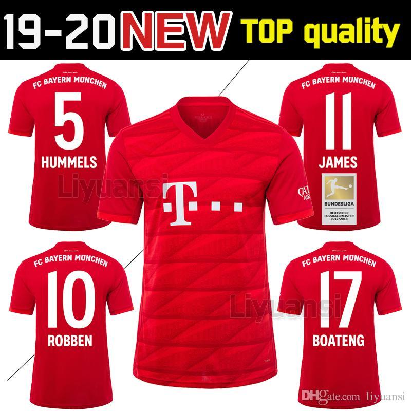 size 40 69d1d d61ea Thailand Bayern Munich Soccer jersey JAMES RODRIGUEZ 2019 2020 LEWANDOWSKI  MULLER KIMMICH 19 20 HUMMELS Football shirt Champions league