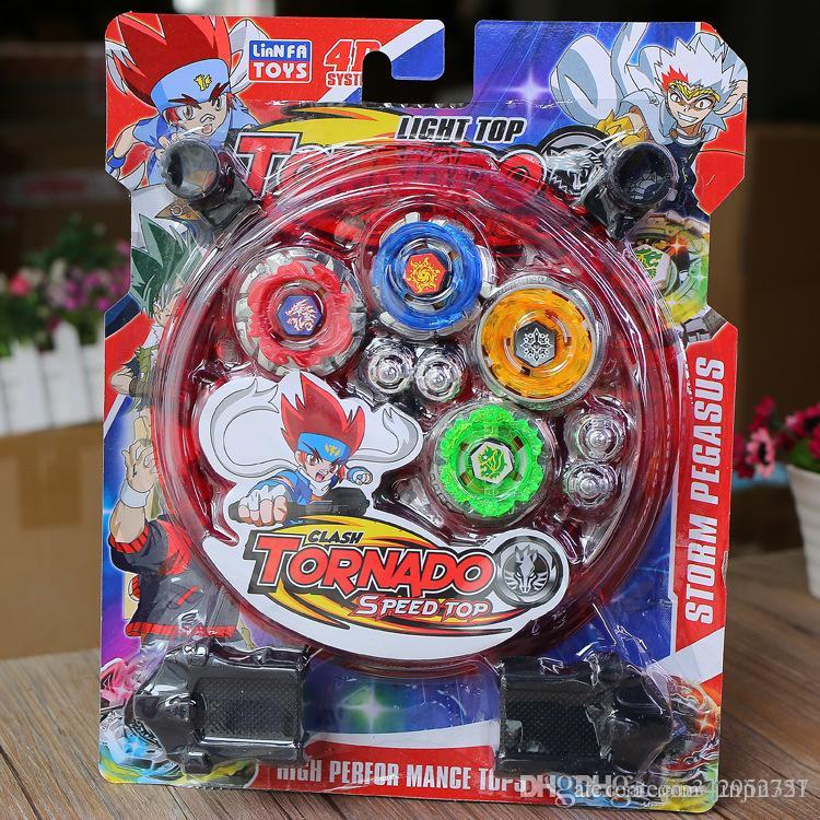 Alloy Gyro Set Children's Magic Gyro Toys 4D TORNADO Speed Top Beyblade Battlesuit Competitive Battle Alloy Gyro Children's Toy Se